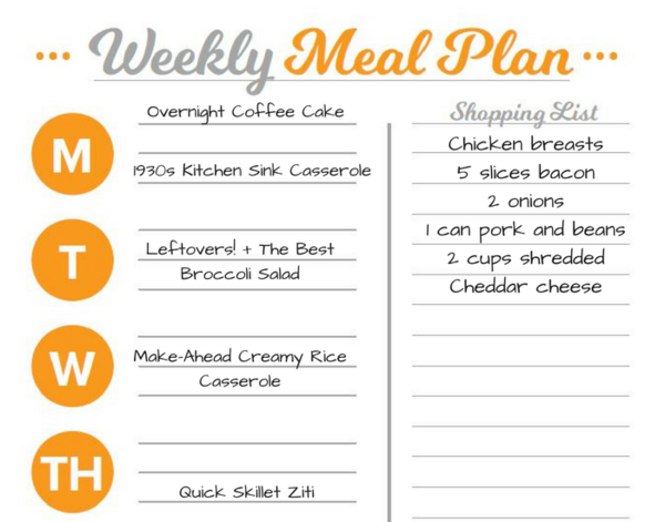 Printable Meal Planning Sheets