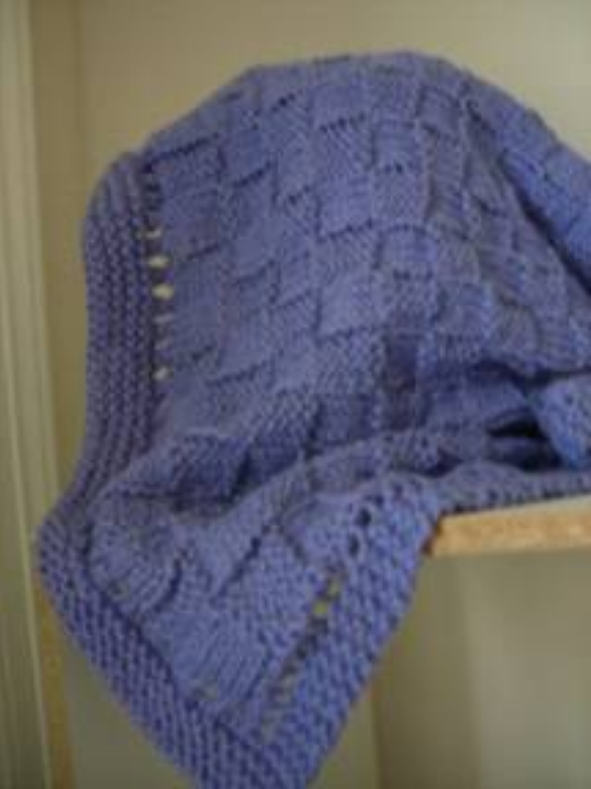 Knit Afghan Patterns Worsted Weight : Easy Basket Weave Baby Blanket AllFreeKnitting.com