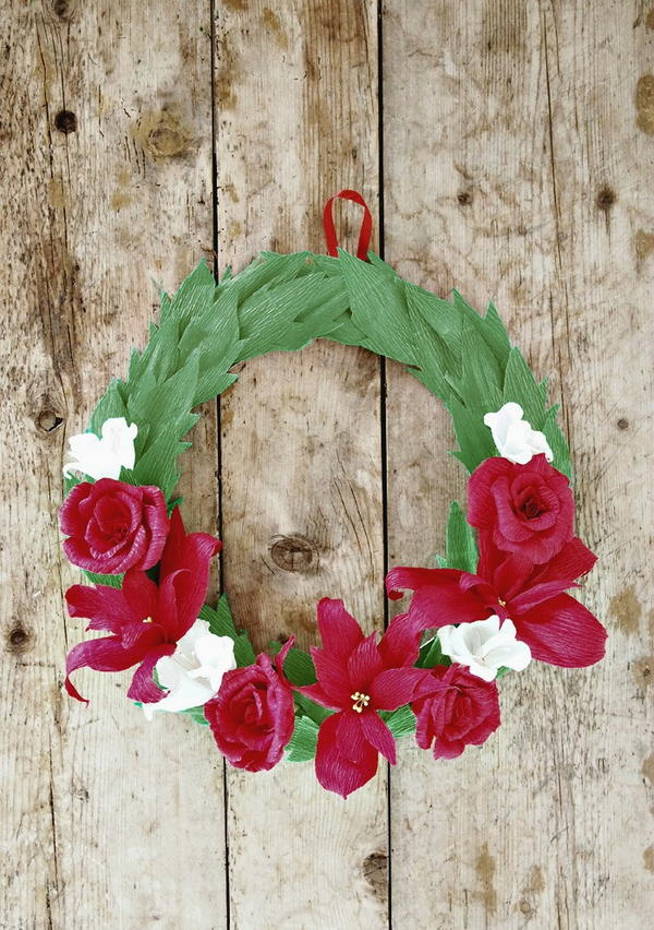 Crepe Paper Floral Christmas Wreath