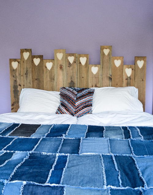 Precious Hearts Easy DIY Headboard