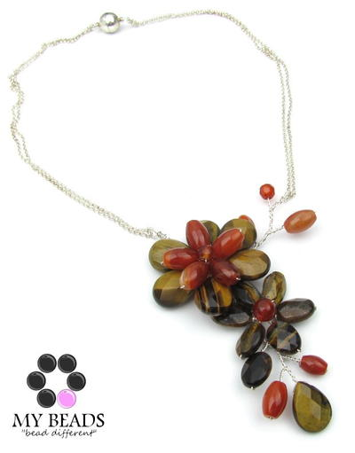 Wired Gemstone Flower Necklace