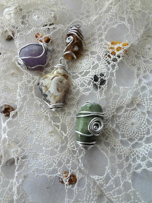Beach Stone Wire Wrapped Pendant