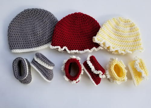 Rag Quilt Baby Hat and Booties