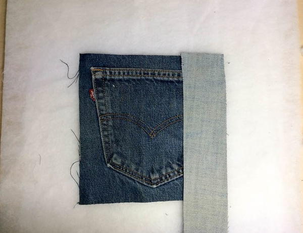 DIY Denim Traditional Log Cabin Block Pocket Pillow