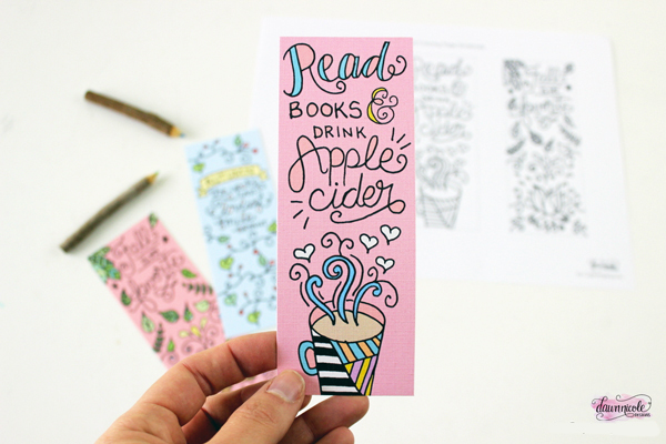 Fall Coloring Book Page Bookmarks (Printable)