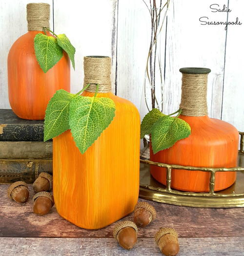 Painted Pumpkin Recycled Bottle Craft