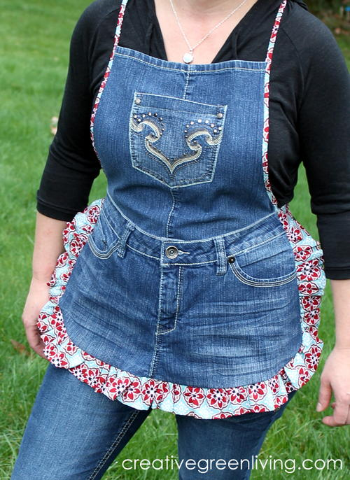 Farm Girl Recycled Jeans Apron
