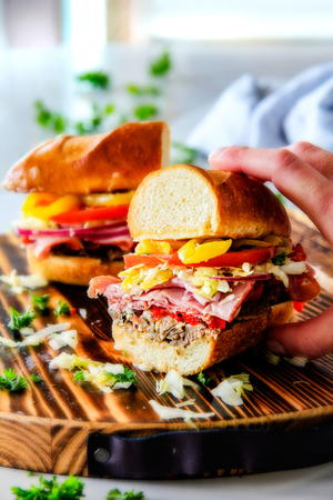 Loaded Slow Cooker Italian Beef Sandwiches