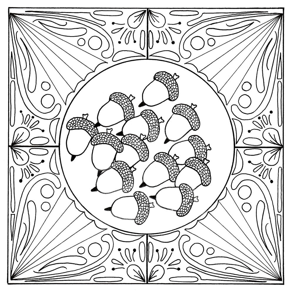 Fall Acorn Mandala Adult Coloring Page | FaveCrafts.com