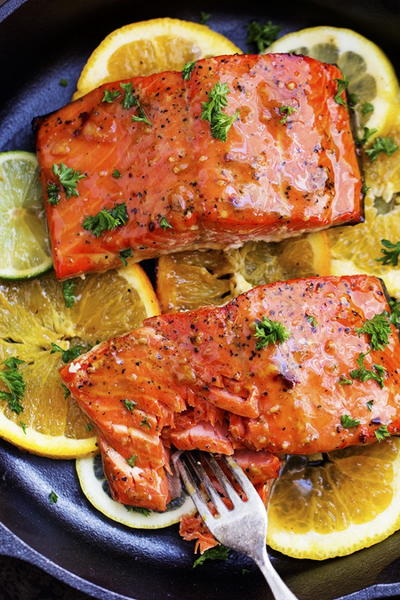 Just Like Olive Gardens Citrus Glazed Salmon
