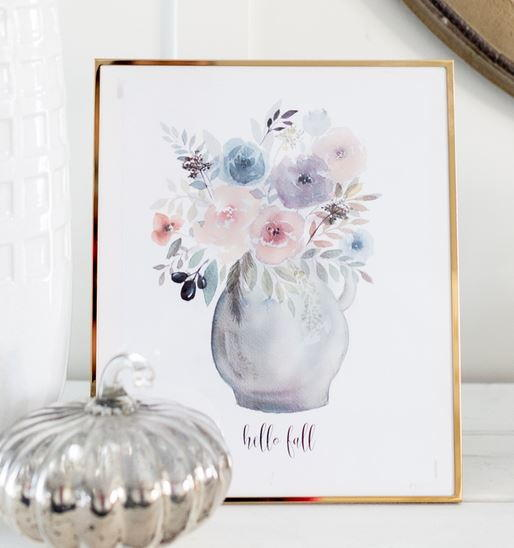 Fall Flowers Watercolor Printable Art