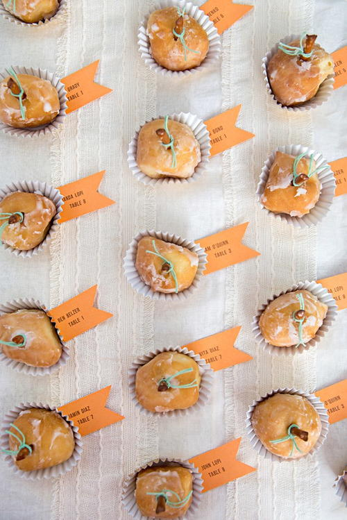 Pumpkin Donut Hole Seating Cards