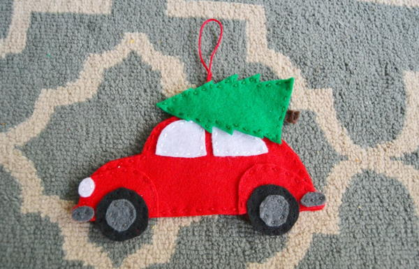 Vintage Car with Christmas Tree DIY Ornament