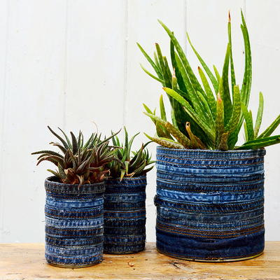 Recycled Jeans Tin Can Planters