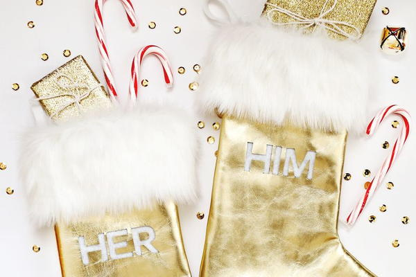 Gold Leather + Fur Stocking DIY
