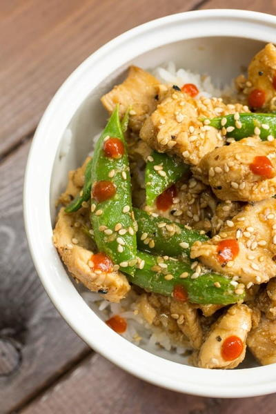 Sesame Chicken with Pea Pods