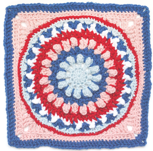 Layered Dahlia Crochet Granny Square