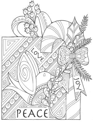 The Gift of Peace, Love, and Joy Coloring Page