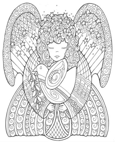 Celestial Angel of Peace Coloring Page