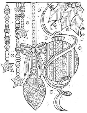 Magical Christmas Tree Adornments Coloring Page