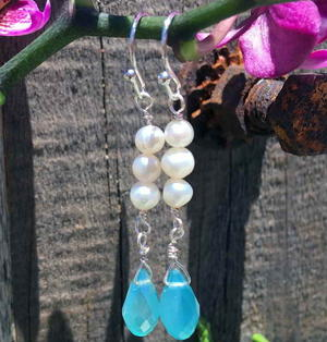 Pearl and Crystal Teardrop Wire Earrings