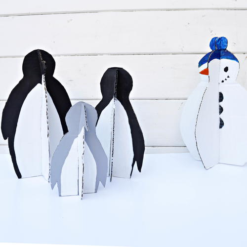 Cute Penguins & Snowman made from upcycled packaging