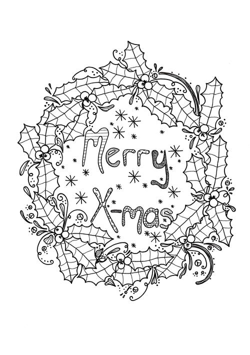 Merry Xmas Wreath Adult Coloring Page