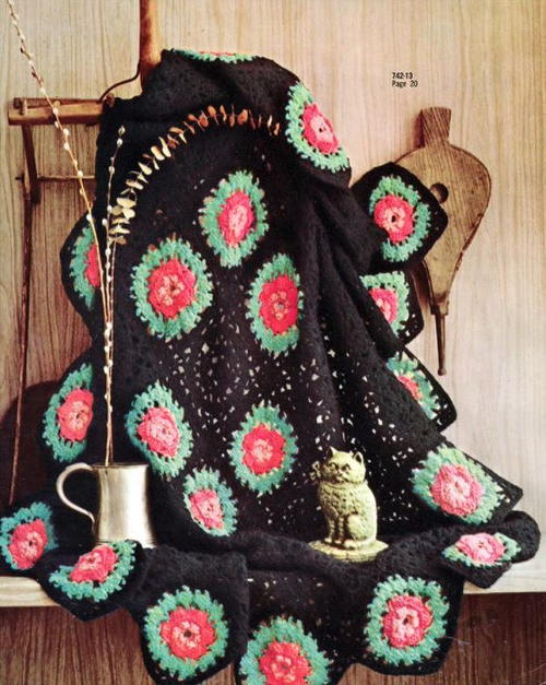 Black Afghan With Roses