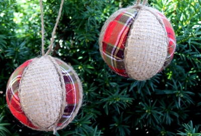 Vintage-Inspired Plaid and Burlap Ornaments