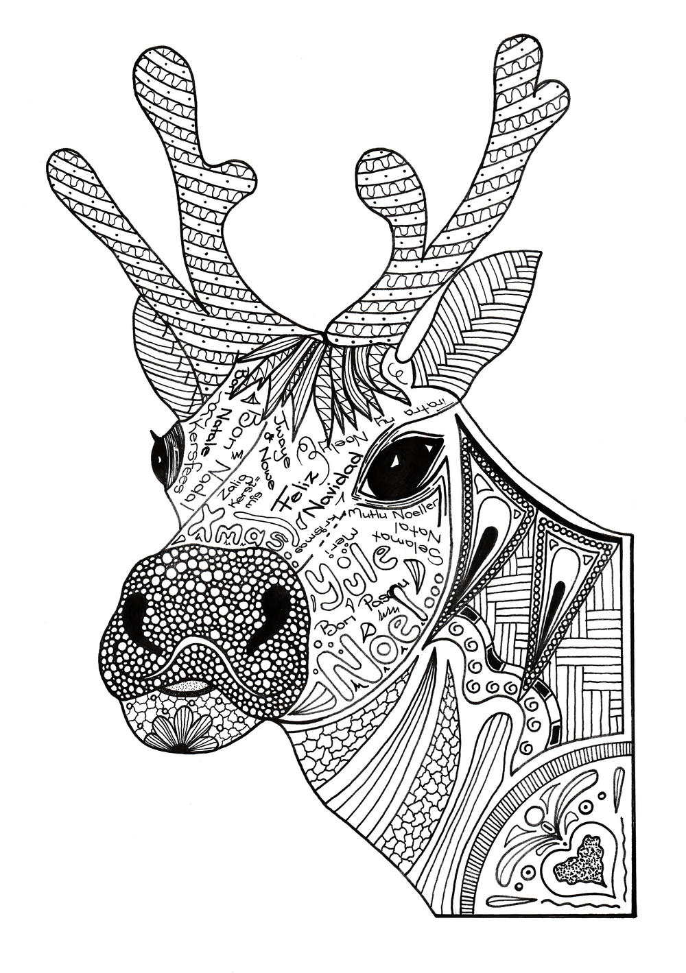 Christmas reindeer adult coloring page for Adult color pages