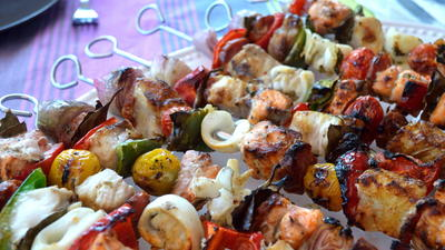 Fish Kebabs with Lemony Olive Oil Sauce