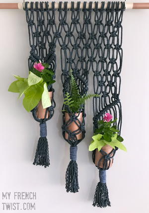 Macrame 3-Pot Plant Holder