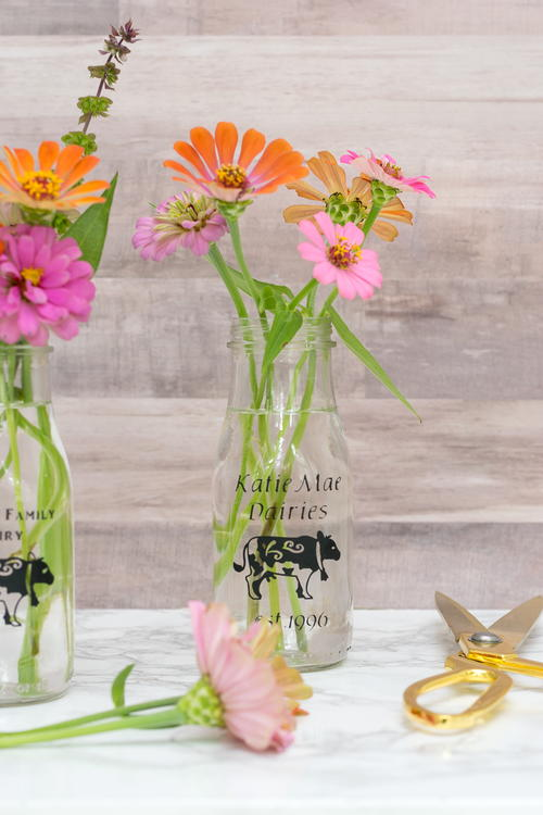 Personalized DIY Milk Glass Bottles