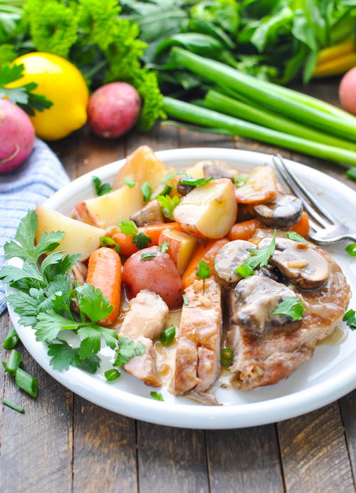 Slow Cooker Pork Chops with Vegetables and Gravy