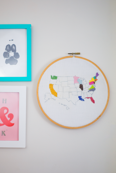 DIY Cross Stitch Travel Map