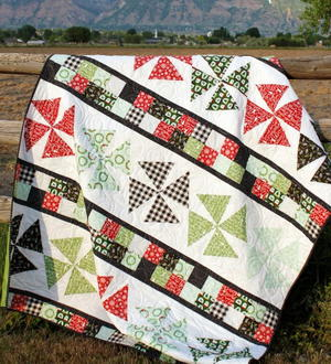 Pinwheels and Patchwork Throw Quilt Pattern