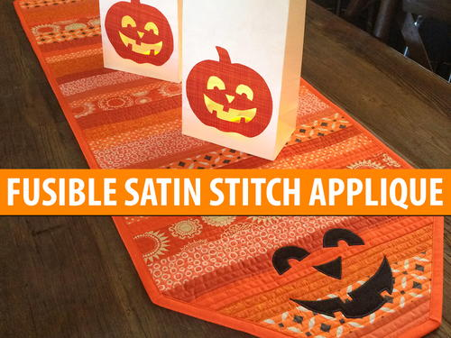 Fusible Satin Stitch Applique Jack-O'Lantern