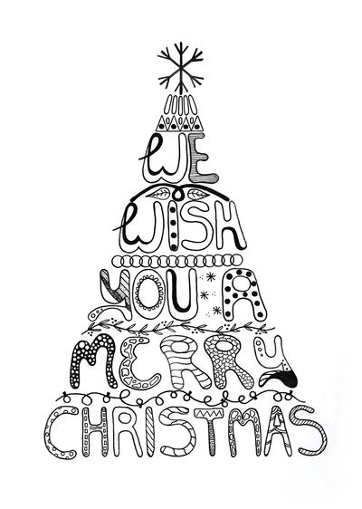Allfreepapercrafts Com: Merry Christmas Adult Coloring Page