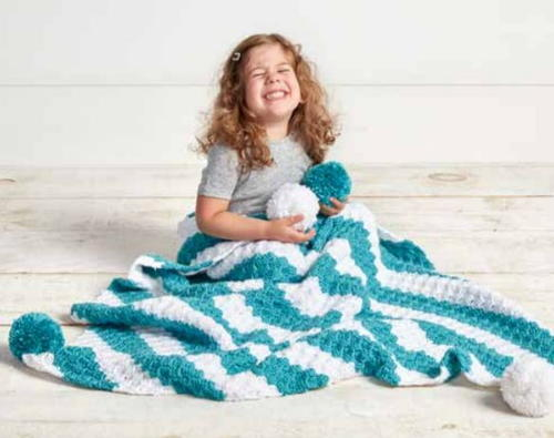 Striped Corner-to-Corner Crochet Afghan