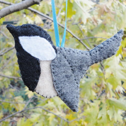 Felt Applique Chickadee Ornament