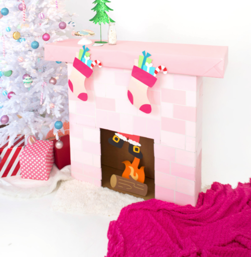 Thrifty Fireplace Cardboard Box Craft