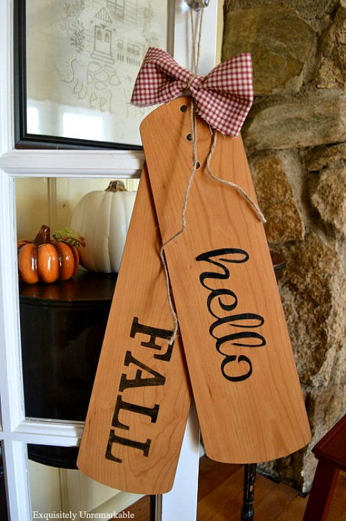 Repurposed Ceiling Fan Blade Welcome Fall Door Tags