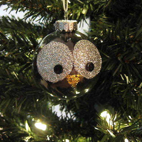 Glitter Owl Christmas Ornament