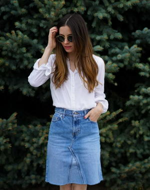 Jeans to Denim Skirt Refashion