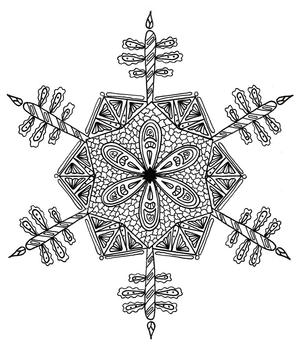 Intricate Snowflake Adult Coloring Page | FaveCrafts.com