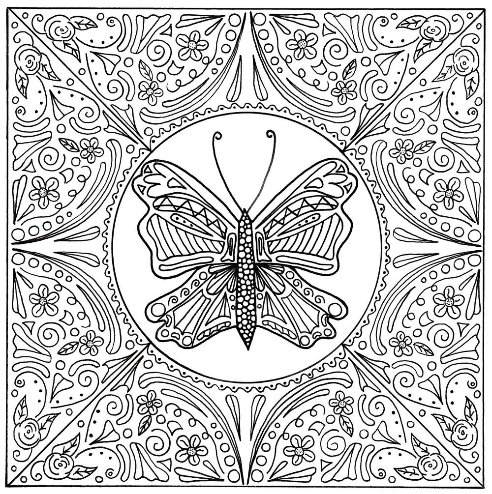 Butterfly Lace Mandala Adult Coloring