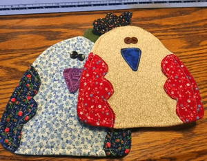Wacky Chicken Denim Pot Holders