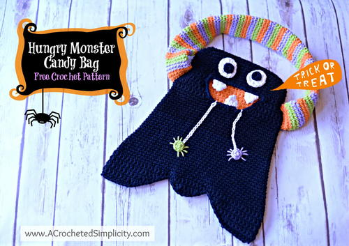 Crochet Hungry Monster Candy Bag