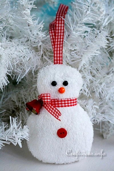 Washcloth Snowman Ornament