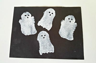 Sponge Painted Ghosts Kids Activity